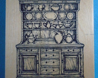 PSX K-1674 - Colonial Hutch - RARE Rubber Stamp