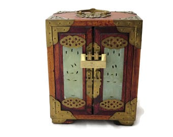 Chinese Jade and Wood Jewelry Box - Locking Cabinet, Fabric Lined Drawers