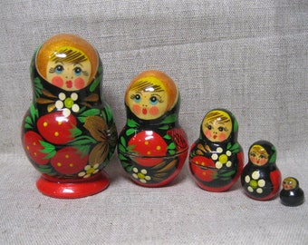 Vintage Russian Doll  Matryoshka / Nesting Doll Matryoshka/ Soviet Vintage Gift / Wooden Toy Matrioshka