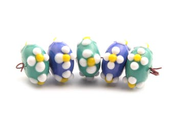 Lot (5) 18mm Vintage Czech floral overlay blue green rondelle lampwork glass beads 2421-124