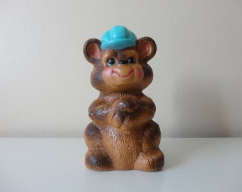 VINTAGE 1973 brown bear COIN BANK - russ berrie and co. - made in usa - retro bear - savings bank