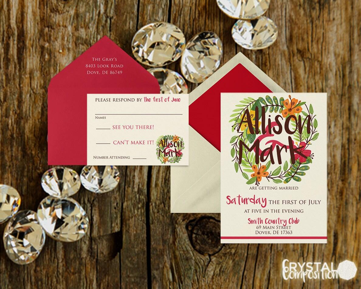 Hawaiian Luau Wedding Invitation Suite Printable