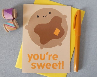 Kawaii Pancake Card - Valentine's Day - Pancake Day - You're Sweet! - Couples, Anniversary, Best Friends