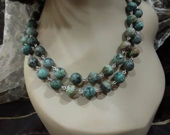 African natural turquoise long strand necklace