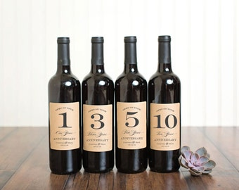 Wedding Guestbook Anniversary Wine Labels \\ Set of 4