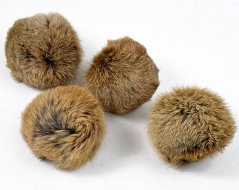 "Rabbit Fur Pom pom balls by pc, Approx. 3"" to 3-1/4"", 10 colors, TR-10371"