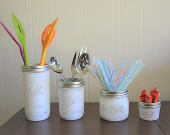 Set of 4 Wide Mouth Mason Jars White Distress vintage looking