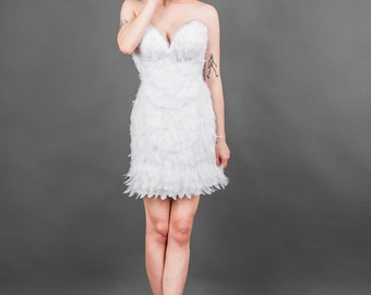 White Feather Couture Corset Knee Length Bridal Wedding Dress