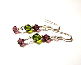Vintage Sterling Silver Faceted Emerald Green and Purple Amethyst Crystal Glass Beaded Dangle Pierced Earrings