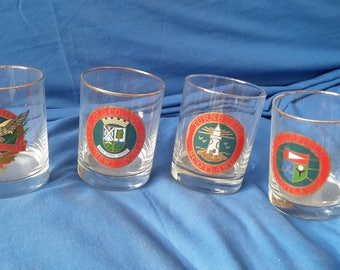 4 Large Vintage Glass Tumblers Golf Courses