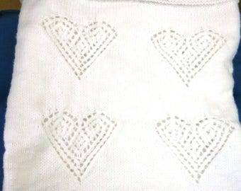 White Knitted Hearts Baby Blanket, 41 x 50