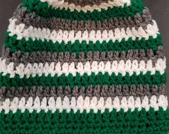 Green, Gray, and Red Beanie