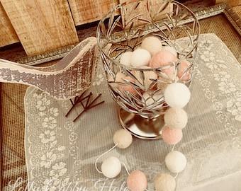 Blush Felt Ball Garland, Blush Pink, Latte, Ivory Felt Balls, Felt Ball Wall Hanging, Nursery Decoration, Soft Pink Garland, Wedding, Baby