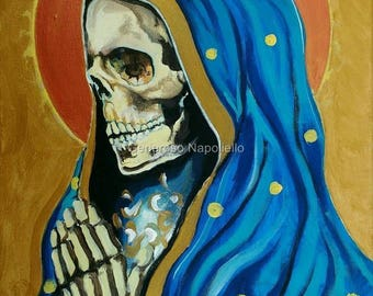 La Santa Muerte ( n*15 ) A3 Print from Original Oil Painting Folk Art Only Death Mexican Art Day of the Dead
