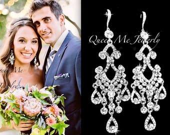 """Long Crystal Chandelier earrings 4"""" Long Brides chandelier earrings Sterling ear wires  Wedding Bridal Jewelry Statement earrings ABRI"""