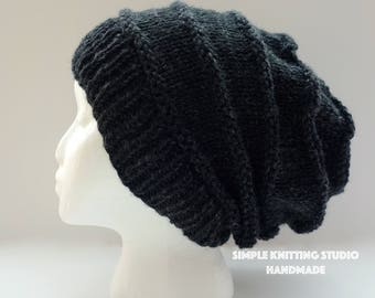 Fashionable Slouchy Hat    Knit Hat, Beanie Hat, Slouchy Beanie (Color: Black / Speckled Black)