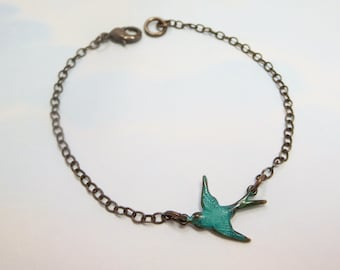 Blue Bird  Bracelet Flying Sparrow Bird in Flight Teal Bird