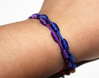knotted bracelet, friendship bracelet, knotted nylon, rope bracelet, purple bracelet, blue bracelet, minimalist jewelry, boho chic, jewelry