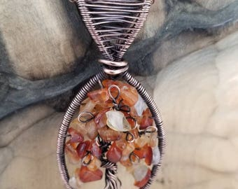 Oxidized copper Tree of Life with Genuine Carnelian gemstone chips