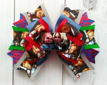 Chucky Hair Bow/Chucky Hair Clip/Chucky Bow/Child's Play Hair Bow/Chucky Doll Hair Bow/Chucky Accessory/Chucky/Chucky the Good Guy Doll Bow