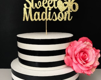 Happy Sweet Sixteen cake topper-  sweet sixteen cake topper- sweet 16 cake topper- Glitter 16th birthday cake topper- custom sweet 16 topper