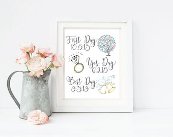 First Day, Yes Day, Best Day Print; CUSTOMIZABLE Dates; Gold or Silver; Wedding Decor; Bridal Shower; Wedding Gift; 8x10 Digital Print