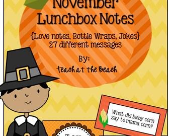 November Lunchbox Notes * Jokes * Bottle Wraps