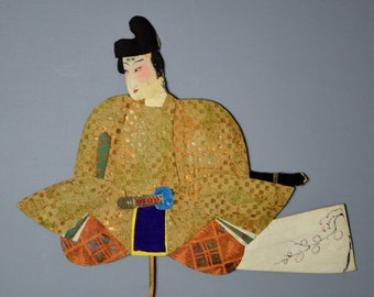 1800's Antique Oshie Japanese Silk Kimono Doll Seated Samurai Oshi-e Okiage Ningyo 32