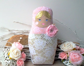 Babushka doll, Matryoshka doll, Shabby & chic doll. Blush pink, lace fabrics. Russian nesting doll for home, nursery decor. Beautiful gift