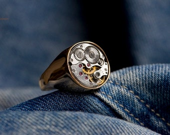 Industrial Signet Ring -  'COPPERBACK' - Watch Ring, Men's, Women's, Mechanical, Phosphorous Bronze and Silver Ring, Unique Statement Ring,