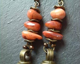 Pearl Jasper and bronze charm earrings