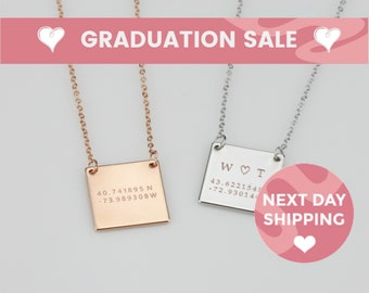 Custom Square Plate Necklace Custom Coordinates Necklace Square Tag Necklace High School Graduation Gifts for Her Graduation Necklace