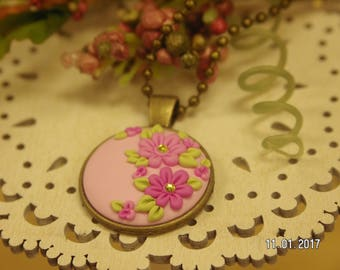 Pretty in Pink - Pink Floral Pendant Necklace