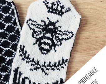HONEY BEE // Knit Mitten Pattern // Mitten Knitting Pattern