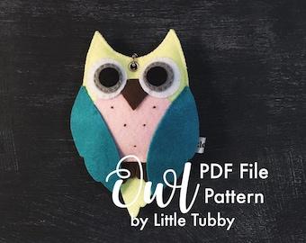 Owl Plush Toy Felt Sewing Pattern PDF
