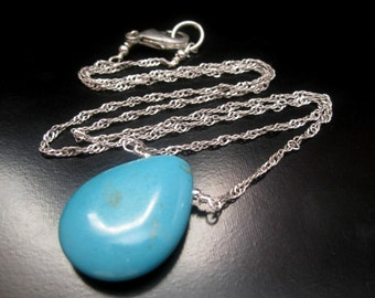 Turquoise Necklace, Turquoise Howlite, Layering Necklace, Turquoise Howlite Teardrop Pendant, Antique Silver Chain, Sterling Silver Wire