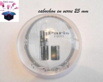 1 cabochon clear 25 mm Paris 1900 theme