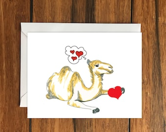 Camel Love greeting card A6 One Card and Envelope Valentine's Romantic