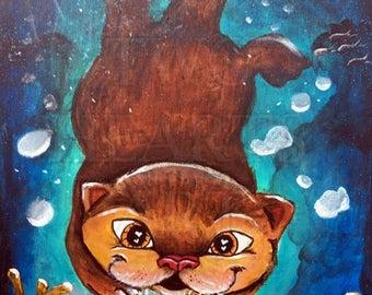 Otter Art Print, Otter print, Nursery Wall Decor, Cute Animal Art, Swimming Otter Art Print, Home Decor, Otter Wall Art