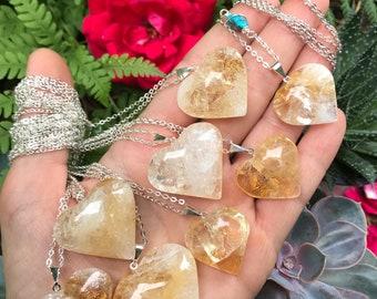 "Citrine HEART necklace // silver // SELF LOVE // magic // 28""  // golden amethyst"