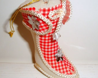 Vintage Christmas Boot Ornament, Red White Checks, Flocked  (457-11)