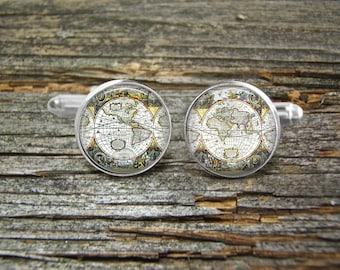 Map Antique World Europe Americas Cufflinks -Wedding-Cufflink Box-Jewelry Box-Silver-Keepsake-Gift-Man gift-Graduation-Science-Men-Antique