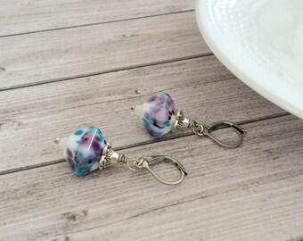 White multicolor lampwork earrings  Handmade Glass beadwork earrings  Unique jewelry