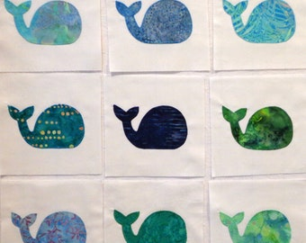 Baby Whales Appliqued Quilt Blocks