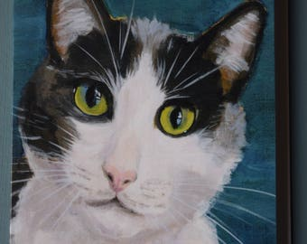 BLACK & WHITE CAT  Blank Greetings Card from original acrylic artwork by Sara Tuckey