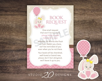Instant Download Pink Bunny Book Request, Rabbit Book in Lieu of Card, Pink Bunny Baby Shower Book Instead of Card for Girl 43A