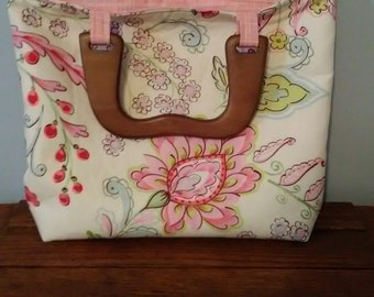 Floral Purse/Tote with wooden handles