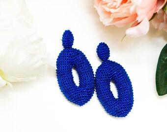 Oval cobalt blue Beaded Earrings  Oscar de La Renta Style Women Earrings Stud  Clip On Earrings Beadwork Jewelry Blue oscar