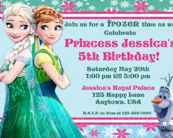 Frozen Themed Birthday Party Invitation featering Elsa, Anna and Olaf/ Birthday Party Invite