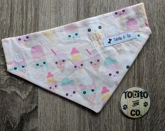 NEW!! Happy ice cream// dog bandana//over the collar//reversible//made to order